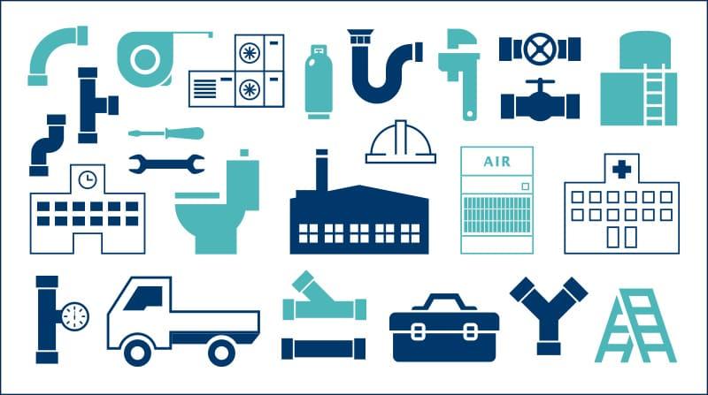 工業用配管設備工事/サニタリー配管工事/冷暖房空調設備工事